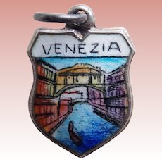 Vintage VENEZIA Venice 800 Silver & Enamel Estate Charm - Souvenir of Italy