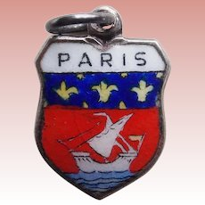 Vintage PARIS 800 Silver & Enamel Estate Charm - Souvenir of France