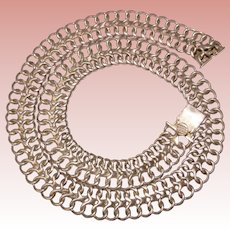 Fabulous MEXICAN STERLING Vintage Wide Chain Link Necklace