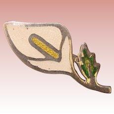 Sterling & Enamel CALLA LILY Mexican Silver Vintage Brooch
