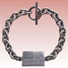 Sterling AMERICAN FLAG Vintage Bracelet - Patriotic United States of America - Souvenir