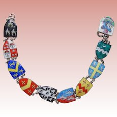 Gorgeous ENGLAND Enamel Shield Souvenir Vintage Bracelet - English Great Britain