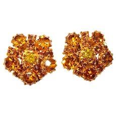 Fabulous AUSTRIA Vintage Amber Rhinestone Clip Earrings