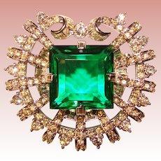 Fabulous SULTAN'S PIN Smithsonian Replica Hooker Emerald Rhinestone Brooch