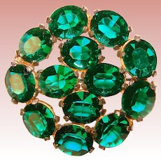 Fabulous GREEN Oval Crystal Stones Vintage Brooch
