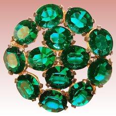 Fabulous GREEN Oval Crystal Stones Vintage Brooch