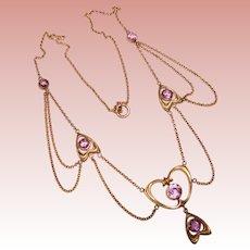 Fabulous ART NOUVEAU Purple Stones Festoon Necklace