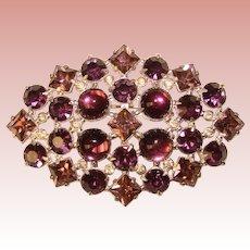 Fabulous HUGE Purple Stones Vintage Estate Brooch