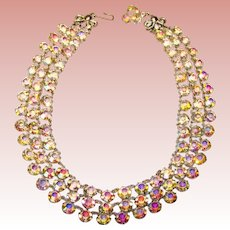 Fabulous AURORA Open Back Stones 3 Strand Vintage Necklace