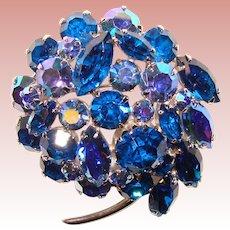 Fabulous CAPRI BLUE Aurora Rhinestone Vintage Brooch