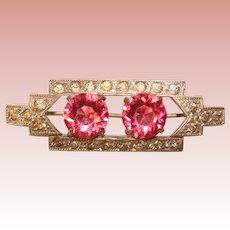Gorgeous ART DECO Pink Glass & Rhinestones Brooch