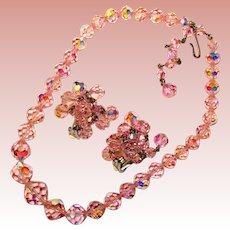 Fabulous LAGUNA Signed Pink Aurora Crystal Necklace Set