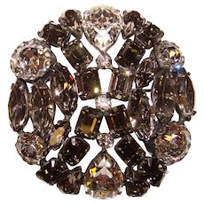Super Sparkle Smoke & Clear Rhinestone Vintage Brooch