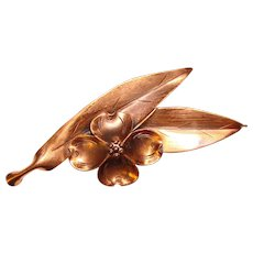 Fabulous NYE Signed COPPER Dogwood & Leaf Shaped Brooch