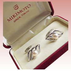 Fine MIKIMOTO Sterling & Cultured Akoya Pearl Vintage Cufflinks - in Original Box
