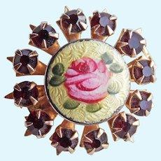 "Tiny Enamel & Rhinestone Vintage Mini Pin Brooch - 11/16"" For Doll or Lapel"