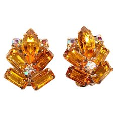 Gorgeous AMBER & AURORA Rhinestone Vintage Clip Earrings