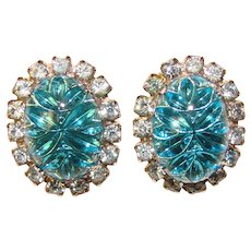 Fabulous AQUA Fantasy Glass Rhinestone Vintage Clip Earrings