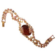Fabulous Aurora TOPAZ BROWN Vintage Rhinestone Bracelet