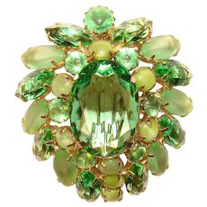 Fabulous SHADES OF GREEN Rhinestone Vintage Brooch