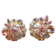 Fabulous Huge WEISS Signed Aurora Rhinestone Vintage Clip Earrings