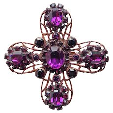 Gorgeous LIZ PALACIOS Purple Rhinestone Pendant Brooch - San Francisco California Signed