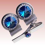 BLUE RIVOLI & Clear Rhinestone Mesh Wrap Vintage Cufflinks Set