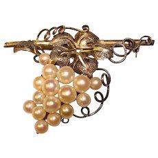 Fabulous Sterling & Akoya Cultured Pearls Vintage Grapes Brooch