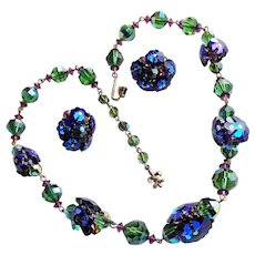 Fabulous VENDOME Blue Margarita & Green Crystal Signed Vintage Necklace Set