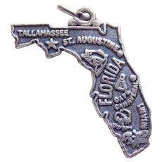 Vintage Sterling FLORIDA Estate Charm - State Souvenir