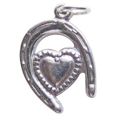 Sterling HEART IN HORSESHOE Vintage Estate Charm - Lucky in Love