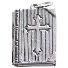 Sterling BIBLE Mechanical Vintage Estate Charm - Opens to The Lord's Prayer