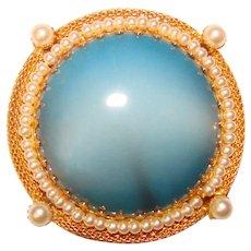 Beautiful BLUE GLASS Faux Pearl Vintage Brooch