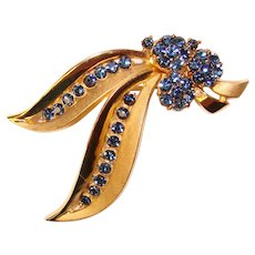 Fabulous TRIFARI Midnight Blue Rhinestones Vintage Brooch