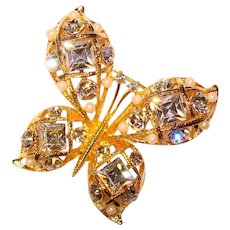 Gorgeous M JENT Signed Rhinestone Butterfly Brooch