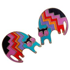 Awesome LAUREL BURCH Enamel Cat Pierced Earrings - Aztec Cat - Signed