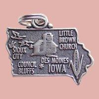 Sterling IOWA Vintage Estate Charm - State Souvenir