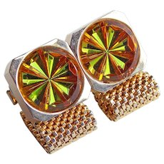 Poured Glass GREEN & AMBER Stones Mesh Wrap Vintage Cufflinks