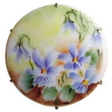 Antique Hand Painted Violets Porcelain Brooch
