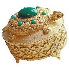 Awesome FLORENZA Signed Turtle Vintage Trinket or Pill Box