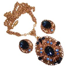 Fabulous West Germany Blue Glass & Rhinestone Vintage Necklace Set