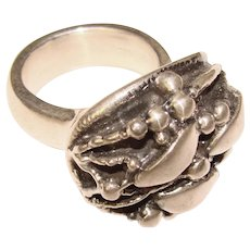 Fabulous STERLING Silver Large Modernist Design Ring