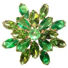 Fabulous GREEN GLASS Vintage Brooch