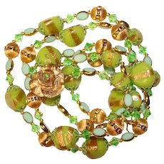 Fabulous GREEN Art Glass & Crystal Vintage 2 Strand Necklace