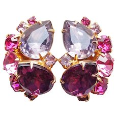 Gorgeous PINK PURPLE LAVENDER Rhinestone Vintage Clip Earrings