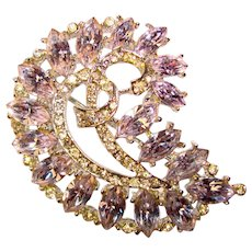 Fabulous ALEXANDRITE Color Rhinestone Vintage Brooch