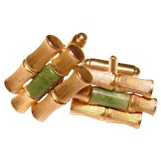 Awesome BAMBOO Design Green Stone Vintage Cufflinks