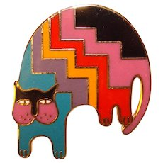 Awesome LAUREL BURCH Enamel Cat Brooch - Aztec Cat - Signed