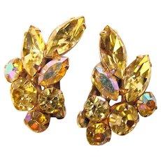 Fabulous YELLOW Navette Rhinestone Vintage Clip Earrings