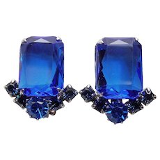 Gorgeous BRIGHT BLUE Rhinestone Vintage Estate Clip Earrings